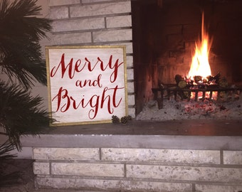 Merry and Bright gold framed distressed wood sign *Christmas Decor *Christmas Sign *Merry & Bright 15x15