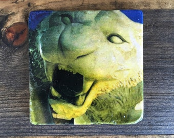 Tiger Kitty coaster with cork backing.