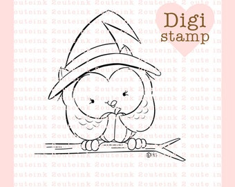 Owl Witch Digital Stamp for Card Making, Paper Crafts, Scrapbooking, Hand Embroidery, Invitations, Stickers, Coloring Pages