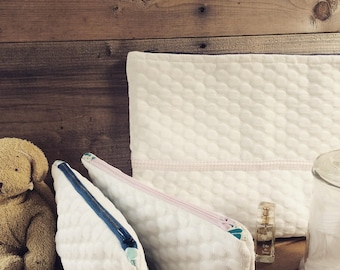 Toiletry bag in padded fabric