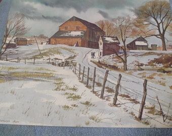 "1940s Lithograph by Ranulph Bye ""Snow on a Country Farm"""