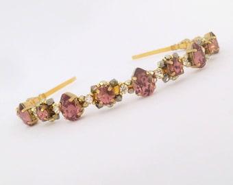 Wedding tiara Blush rose crown Swarovski crystal headband Wedding headband Bridal tiara Blush rose headband Gold crown Bridal crown