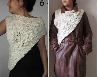 Katniss inspired Cowl,Ivory Cowl,Vest,Poncho Knitted in Chunky Neutral Cream Hand Knitted Cabled Katness Asymmetric wraps Winter Accessories
