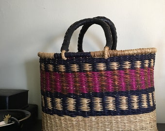 Hand Woven Basket / The Blessing Basket with Leather Handles / Ghana Woven Small Blessing Basket
