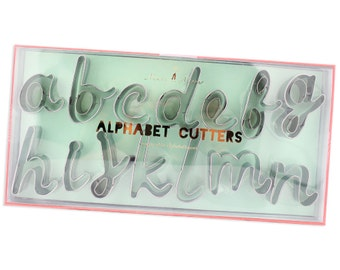 Script Alphabet Cutter Set -  a set of 27 sweet cursive cookie cutters for cookies and fondant.