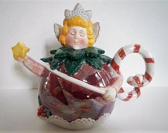 Vintage Sugar Plum Fairy Teapot - Department 56 - Xmas, Christmas, decoration, holiday, home decor, ceramic, children, tea party, fairy tale