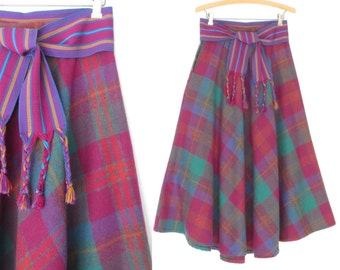 Vintage Plaid Skirt * Flared 80s Skirt * Vintage 1980s Full Midi Skirt * Medium