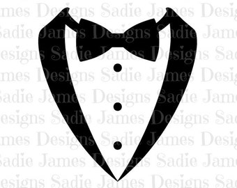 Tuxedo Bow Tie SVG and Silhouette Studio cutting file, Instant Download