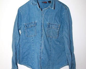 NYJEANS Vintage denim shirt blue tee shirt long sleeve size L