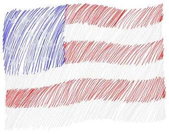 American Flag Machine Embroidery Design - Instant Download