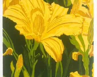 """Yellow Lily  6"""" x 8""""  woodcut"""