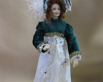 Miniature Porcelain 1 inch scale doll, an Irish Lass by Kay Brooke