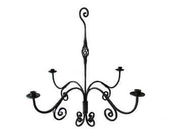 Iron Hand Forged Candelabra Chandelier - Blue Mounds Forge -  Hand Wrought - Heat Forged - New old stock - OOAK