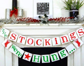 Rustic Christmas banner Stockings were hung Christmas garland Merry Christmas banners decoration garland christmas garland photo prop