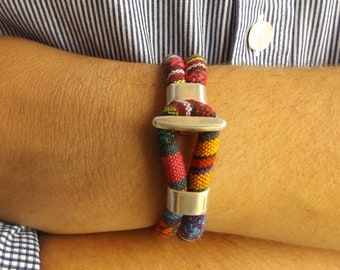 Ethnic bracelet, ethnic jewelry, fabric bracelet, boho bracelet, gift for her, bohemian bracelet, hippie bracelet, tribal bracelet, K12003