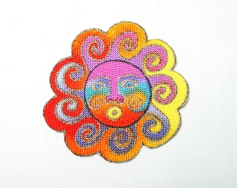 "SALE*Set of Five SUN Appliques (1 1/2"")*Handmade*RARE Laurel Burch Fabric/204"