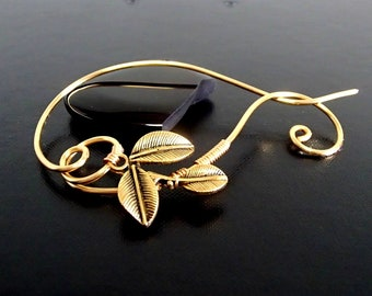 Leaf Shawl Pin, Scarf Pin, Sweater Brooch, Knitting Accessories, Gold Wire pin