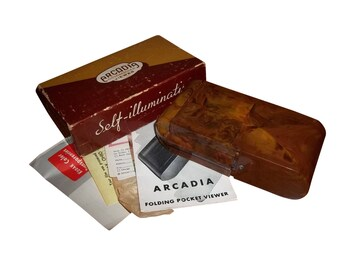 VINTAGE Arcadia Commander Folding Pocket Viewer W Original Box & Instructions, Commander Self-Light Self Illuminating Retro Brown Viewer