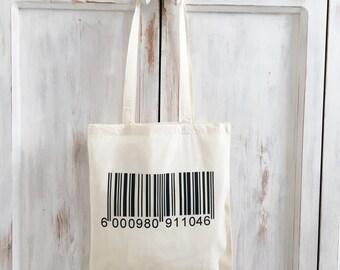 Canvas bag barcode bar code tote bag market bag yoga bag shopping grocery reusable