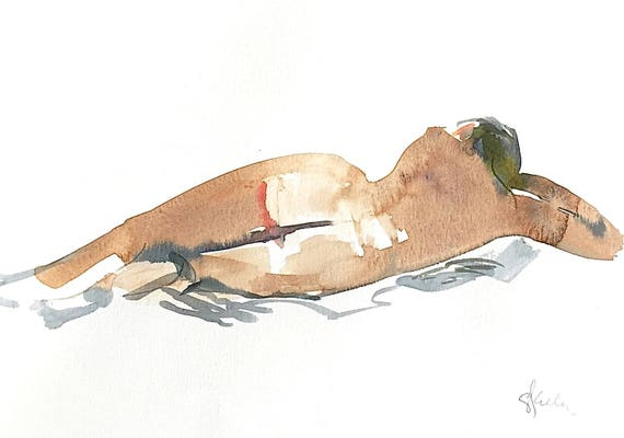 Nude painting- Original watercolor painting of Nude #1441 by Gretchen Kelly