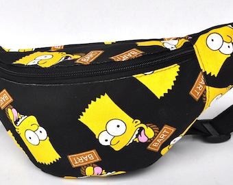 Fanny Pack  1 zipper  Bart black yellow ,bum bag,waist bag,belt bag,hip pouch,bags & purses festival bag , festival bag ,camping bag