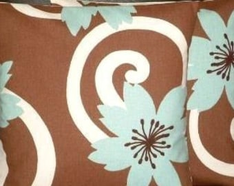 "2 x 18"" Duck Egg Blue Brown Designer Contemporary Modern Funky Cushion Covers,Pillow Cases,Pillow Covers,Pillow"