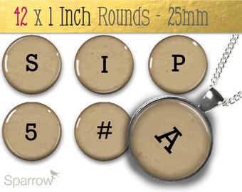 Kraft Paper Typeface Alphabet & Numbers - One (1x1) Inch Bottle Cap Images -Digital Sheets -Scrapbooking -Buy 2 Get 1 Free -Digital Download