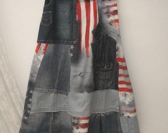 Denim maxi skirt, Festival maxi skirt, Boho upcycled skirt, gypsy skirt,  folk skirt ,reworked maxi skirt, bohemian skirt, upcycled clothing