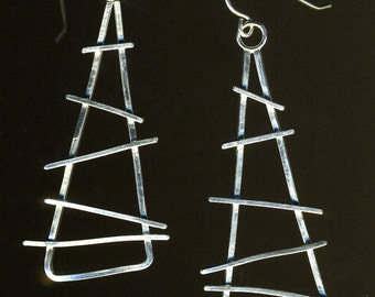 Triangular Sterling silver industrial wire geometric dangle Earrings
