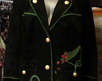 1980's suede leather Giorgio Mobiani jacket, shoulder pads. Size M.