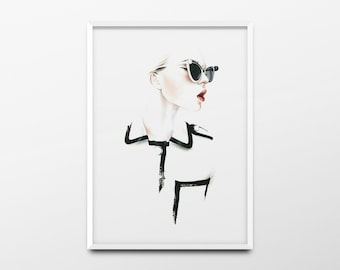 "Fashion Print ""Fashionista"" Chanel Print, Chanel Poster, Chanel Wall Art, Fashion Illustration, Fashion Poster, Fashion Wall Art, Printable"