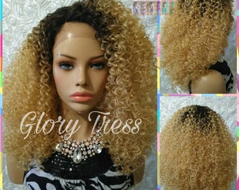 READY To SHIP // Kinky Curly Lace Front Wig, Big Curly Afro Wig, Ombre Golden Blonde Wig //DESTINY