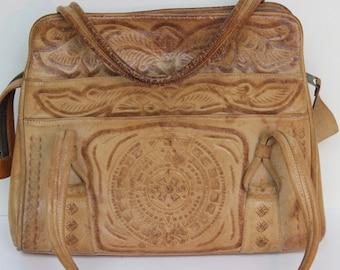 Vintage Tooled Leather Purse Mexico Mike's Multi Pocket Handbag