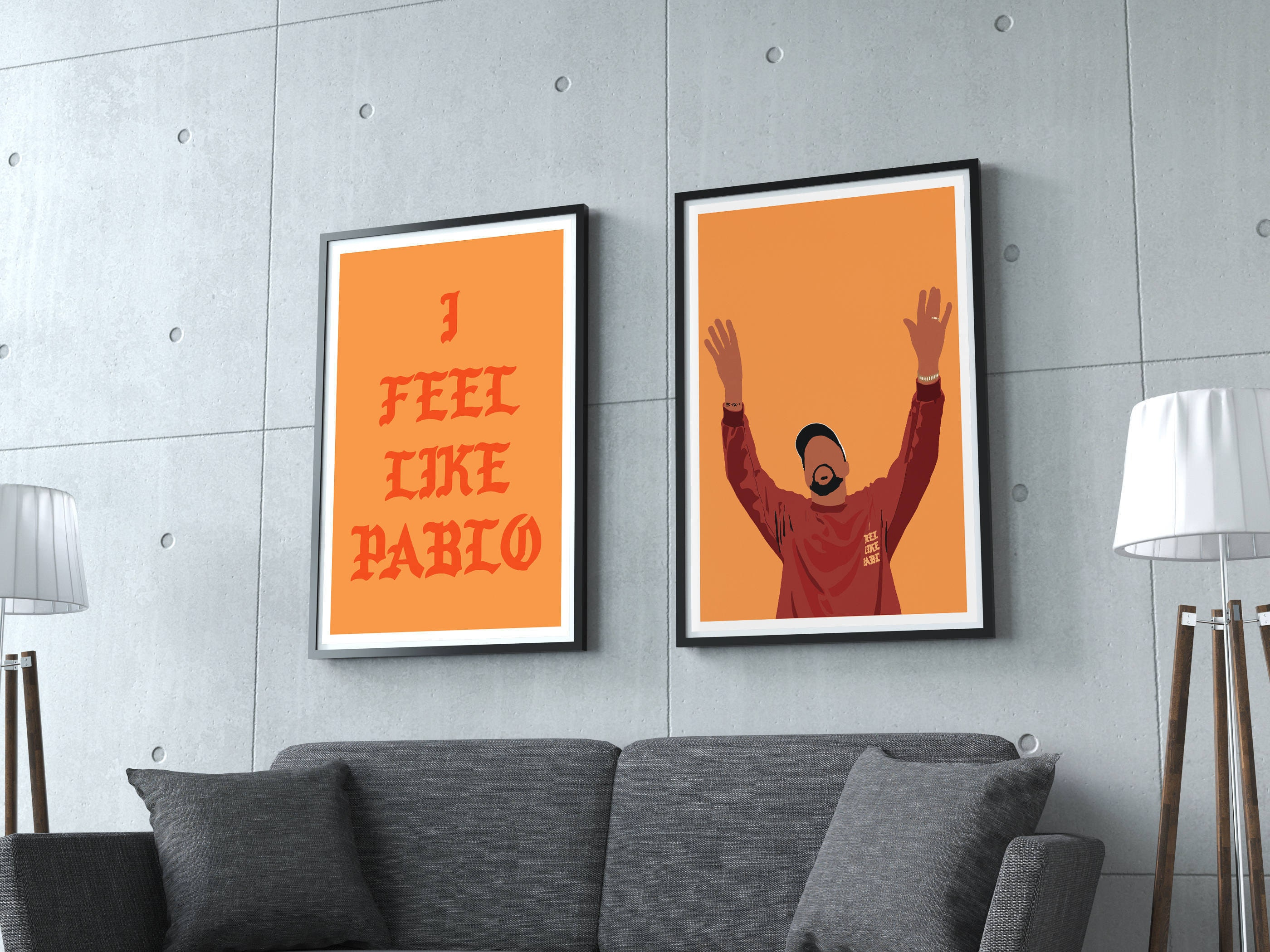 Kanye West Inspired Poster 2 Poster Set Minimalist Art  # Monte Pio Muebles