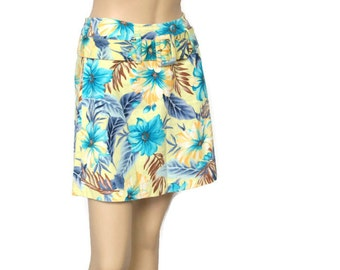 Skirt 1980's Vintage Floral Hip Hugger Tropical Print Belted Hippie Beachy Island Mini Size Small