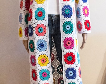 Crochet Granny Square Jacket / Summer Cardigan / Granny Square Cardigan / Boho Crochet Coat / Spring - Summer Coat