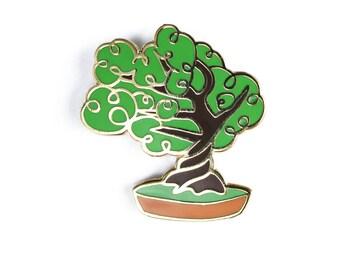 Bonsai Tree Enamel Pin, Plant Lapel Pin // Hard Enamel Pin, Cloisonné, Pin Badge