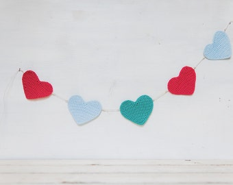 Wreath with red coral, sky blue and teal hearts clear