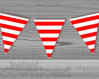 red white striped party flag, party printables download, print and cut DIY party decorative garland to download