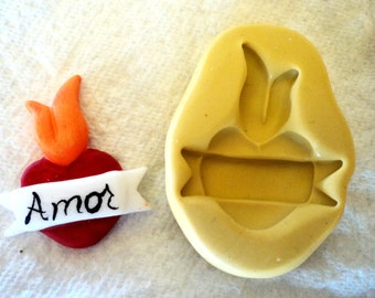 flaming heart mold with banner