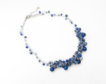 Navy blue crystal necklace with stone on silk thread, chunky necklace, short, dark blue necklace
