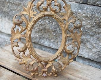 Antique Vintage Solid Brass Oval Picture Frame Large Ornate Baroque Fancy Gold Portrait Wedding Florence