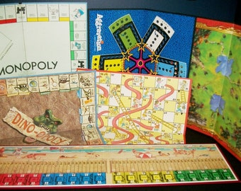 6 Vintage Game Boards Aggravation Dino-opoly Chutes & Ladders Boardwalk Stratego Monopoly