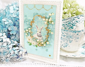 Rabbit card, Easter card, blue, forget me not, white rabbit, lily of the Valley, birthday card, baby boy, all occasion blank card