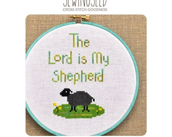 The Lord is My Shepherd Cross Stitch Pattern Instant Download