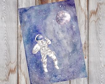 Watercolor Galaxy Astronaut and Moon Print