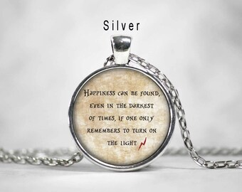 Happiness can be found quote necklace, happiness can be found Harry Potter quote necklace,harry potter,hogwarts,quote pendant