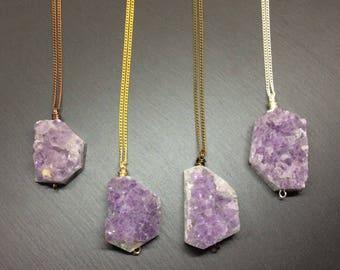 amethyst druzy, amethyst necklace, amethyst pendant, purple necklace, raw amethyst, crystal necklace, amethyst, druzy necklace, raw crystal