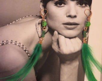 GREEN JANNIE green feather earrings