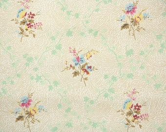 1930s Vintage Wallpaper by the Yard - Antique Floral Wallpaper with Yellow Pink and Blue Flowers on Soft Green Ivy